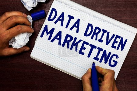 Writing note showing Data Driven Marketing. Business photo showcasing Strategy built on Insights Analysis from interactions Man holding marker notebook page crumpled paper several tries mistakes.