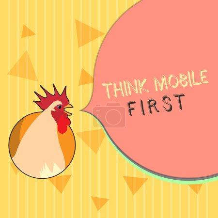 Photo pour Texte manuscrit Think Mobile First. Concept signifiant appareil de poche facile Contenu accessible 24 ou 7 à portée de main . - image libre de droit
