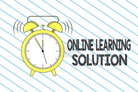 Photo for Writing note showing Online Learning Solution. Business photo showcasing use of Electronic access to Educational Curriculum. - Royalty Free Image