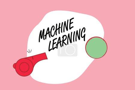 Photo pour Texte d'écriture Word Machine Learning. Concept d'entreprise pour donner aux ordinateurs la possibilité d'être enseigné avec des données . - image libre de droit