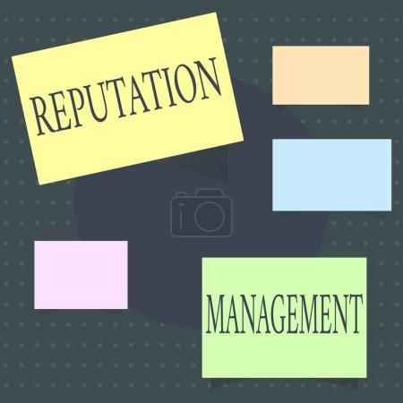 Photo pour Signe texte montrant la gestion de la réputation. Photo conceptuelle Influence et contrôle de la restauration de la marque Image . - image libre de droit