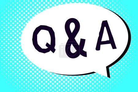 Photo pour Texte textuel Q et A. Concept d'entreprise pour les personnes ou les groupes pose des questions et d'autres y répondent . - image libre de droit
