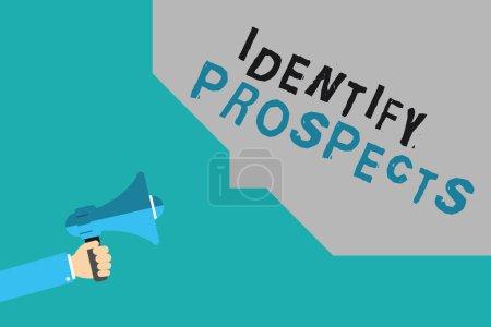 Photo pour Rédaction d'une note montrant Identifier les perspectives. Présentation de photos d'affaires Client possible Idéal Client Prospective Donateurs. - image libre de droit