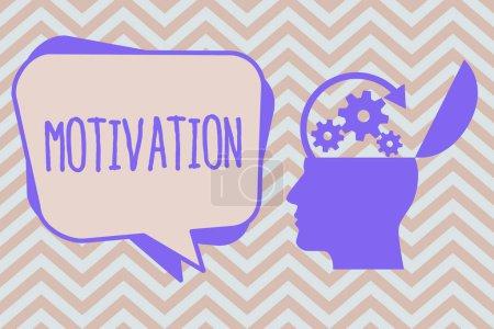 Photo pour Texte d'écriture de mots Motivation. Concept d'entreprise Raisons d'agir d'une manière particulière Faits à l'appui . - image libre de droit