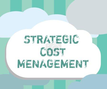 Photo pour Texte textuel Gestion stratégique des coûts. Concept d'entreprise pour combiner la prise de décision et la budgétisation des dépenses . - image libre de droit