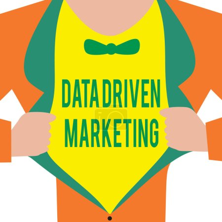 Handwriting text Data Driven Marketing. Concept meaning Strategy built on Insights Analysis from interactions