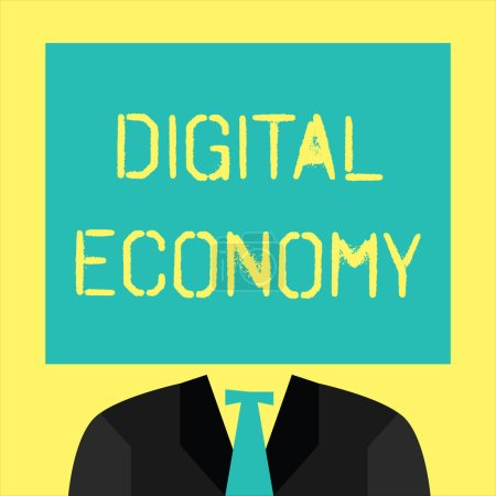 Photo for Text sign showing Digital Economy. Conceptual photo worldwide network of economic activities and technologies. - Royalty Free Image