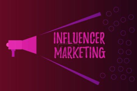Photo pour Note d'écriture montrant Influencer Marketing. Photo d'affaires montrant Endorser qui influencent les clients cibles potentiels . - image libre de droit