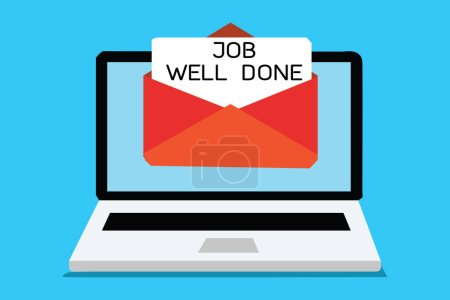 Text sign showing Job Well Done. Conceptual photo Well Performed You did it Cheers Approval Par Accomplished Computer receiving email important message envelope with paper virtual.