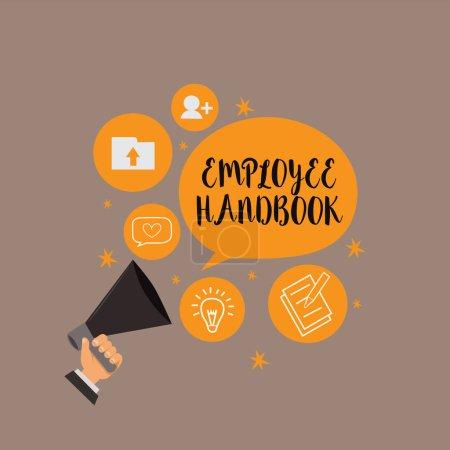 Notiz über das Mitarbeiterhandbuch. Business-Foto präsentiert Dokument, das eine Betriebsabläufe des Unternehmens enthält