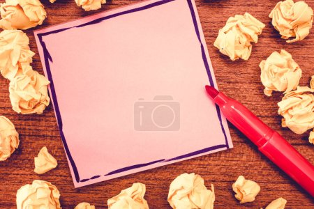 Photo for Design business concept Empty copy text for Web banners promotional material mock up template. Blank Bordered Notepad Sheet Marker Pen for Writing and Crumpled Papers - Royalty Free Image