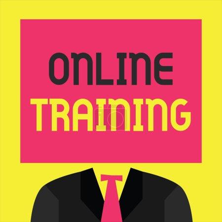 Photo pour Note d'écriture montrant la formation en ligne. Présentation de photos d'affaires Prenez le programme d'éducation des moyens électroniques . - image libre de droit