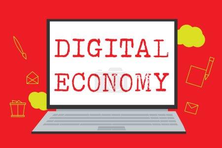 Photo pour Panneau texte montrant l'économie numérique. Photo conceptuelle réseau mondial d'activités et de technologies économiques . - image libre de droit