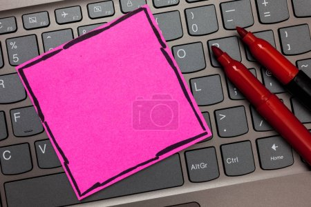 Design business concept Empty copy space modern abstract background Pink paper keyboard Inspiration communicate ideas messages Red markers