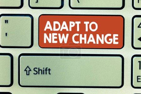 Photo pour Conceptuelle main écrit montrant les adapter au nouveau changement. Photo d'entreprise mettant en vedette s'habituer à la mentalité plus récentes et d'Innovation de comportement. - image libre de droit