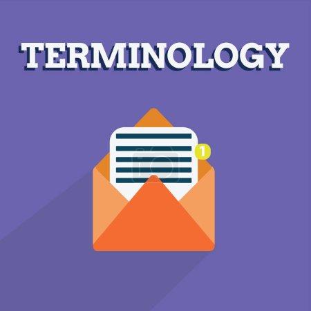 Photo pour Note d'écriture montrant la terminologie. Photo d'affaires présentant les termes utilisés avec une application technique particulière dans les études . - image libre de droit