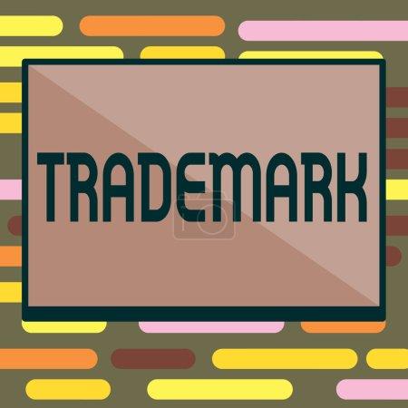 Photo pour Signe texte montrant la marque. Photo conceptuelle Enregistrement légal Droit d'auteur Protection de la propriété intellectuelle . - image libre de droit
