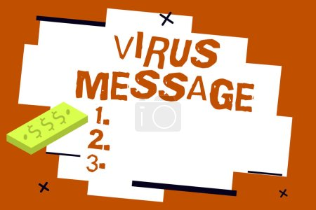 Photo for Writing note showing Virus Message. Business photo showcasing Malicious software program loaded into the user computer. - Royalty Free Image