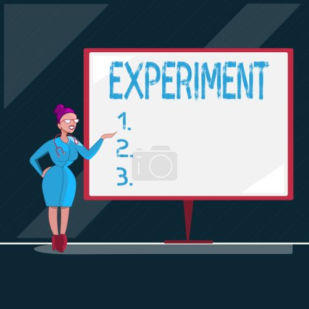 Photo for Writing note showing Experiment. Business photo showcasing Scientific procedure Make discovery test hypothesis demonstrate. - Royalty Free Image