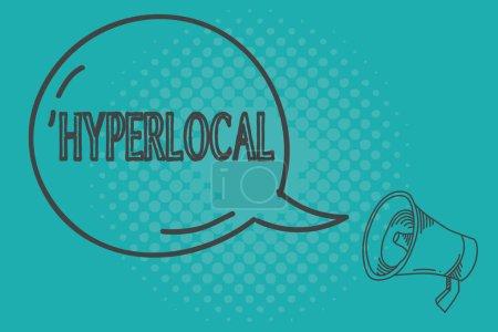 Escribiendo una nota que muestra Hyperlocal. Exposición de fotos de negocios relativas a una pequeña comunidad o área geográfica