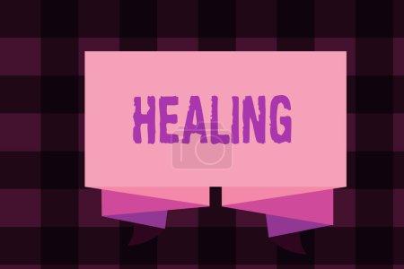 Photo pour Note d'écriture montrant la guérison. Photo d'affaires mettant en valeur le processus de rendre ou de redevenir sain ou en bonne santé Aider les blessés . - image libre de droit