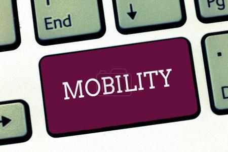 Photo pour Remarque montrant la mobilité de l'écriture. Photo entreprise présentant la capacité à se déplacer ou être déplacés librement facilement souplesse d'adaptation. - image libre de droit