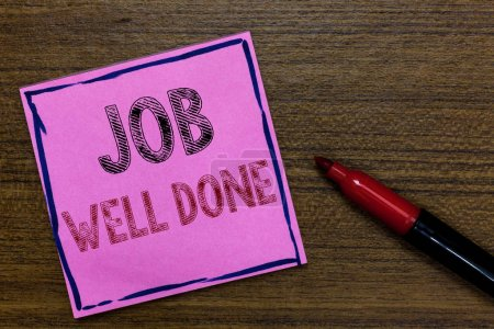 Text sign showing Job Well Done. Conceptual photo Well Performed You did it Cheers Approval Par Accomplished Purple Paper Important reminder Communicate ideas Marker Wooden background.