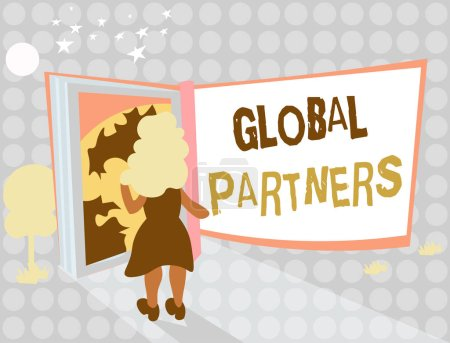 Photo pour Remarque montrant des partenaires mondiaux de l'écriture. Photo d'entreprise présentant deux ou plusieurs entreprises de différents pays travaillent en équipe. - image libre de droit