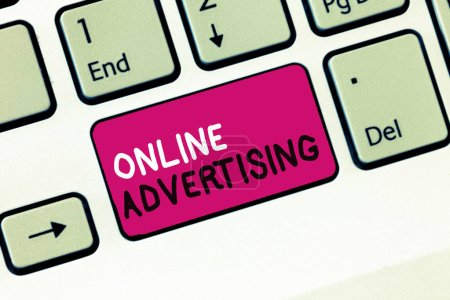Conceptual hand writing showing Online Advertising. Business photo showcasing Internet Web Marketing to Promote Products and Services
