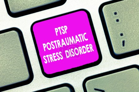 Photo for Text sign showing Ptsd Postraumatic Stress Disorder. Conceptual photo Serious mental condition Emotional Stress. - Royalty Free Image
