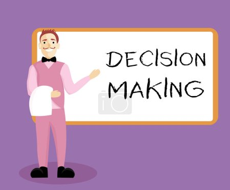 Writing note showing Decision Making. Business photo showcasing The act of deciding between two or more possibilities