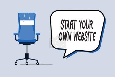 Word Writing Text starten Sie Ihre eigene Website. Business-Konzept zur Erweiterung einer Visitenkarte um eine persönliche Website