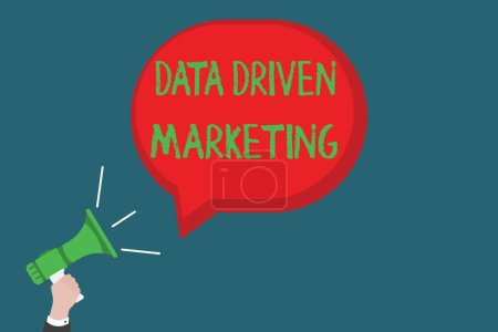 Writing note showing Data Driven Marketing. Business photo showcasing Strategy built on Insights Analysis from interactions