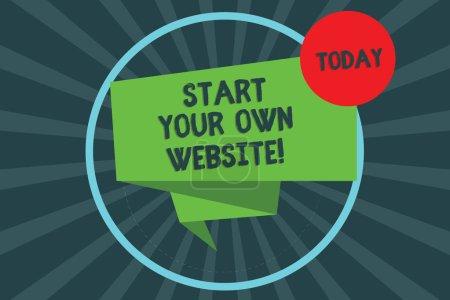 Textzeichen mit dem Start Ihrer eigenen Website. konzeptionelle Foto dienen als Erweiterung einer Visitenkarte eine persönliche Website gefaltet 3d Band Streifen innerhalb Kreis Schleife auf Halbton sunburst Foto