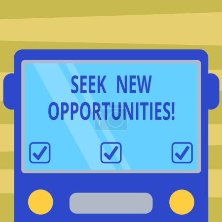 Photo for Text sign showing Seek New Opportunities. Conceptual photo looking for a new job or another business venture Drawn Flat Front View of Bus with Blank Color Window Shield Reflecting - Royalty Free Image