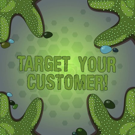 Wortschreibtexte zielen auf Ihre Kunden. Business-Konzept für Ziel diejenigen Kunden, die am ehesten von Ihnen Seesterne Foto an vier Ecken mit bunten Kieselsteinen für Posteranzeigen Karten kaufen.