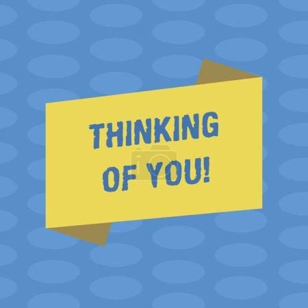 Photo pour Mot écrit texte Thinking Of You. Concept d'affaires pour d'avoir quelqu'un sur l'esprit, se rappelant une démonstration avec photo couleur plié bannière bande plate Style vierge amour pour affiche annonce - image libre de droit