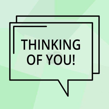 Photo pour Conceptuelle main écrit montrant Thinking Of You. Texte photo entreprise d'avoir quelqu'un sur l'esprit, se rappelant une démonstration avec amour contour Transparent Comic Speech Bubble espace rectangulaire - image libre de droit