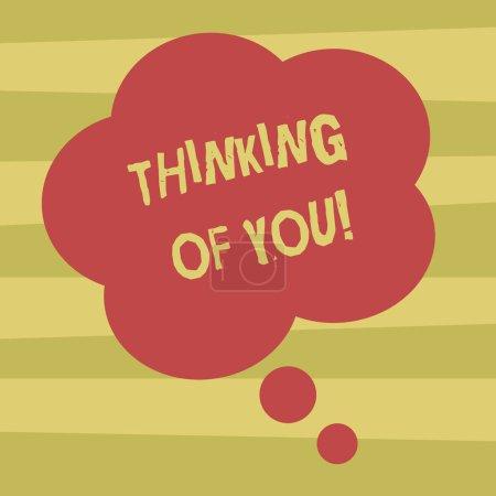 Photo pour Signe de texte montrant Thinking Of You. Photo conceptuelle d'avoir quelqu'un sur l'esprit, se rappelant une démonstration avec photo vierge couleur Floral forme pensée bulle amour pour présentation annonces - image libre de droit