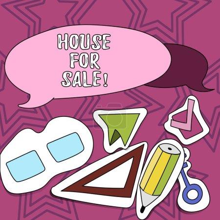 Schreiben Notiz zeigt Haus zu verkaufen. Business-Foto präsentiert Immobilien zur Verfügung, um Gelegenheit zum Kauf.