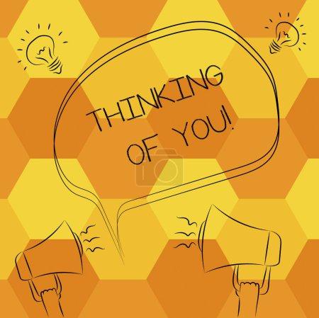 Photo pour Texte manuscrit écrit Thinking Of You. Concept, ce qui signifie que d'avoir quelqu'un sur l'esprit, se rappelant une démonstration avec amour Freehand esquisse Sketch de discours bulle mégaphone son idée icône blanche - image libre de droit