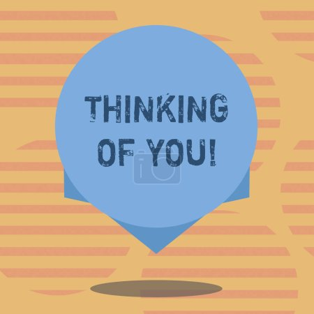 Photo pour Mot écrit texte Thinking Of You. Concept d'affaires pour d'avoir quelqu'un sur l'esprit, se rappelant une démonstration avec amour blanc flottant du cercle couleur photo avec l'ombre et de la conception au bord - image libre de droit