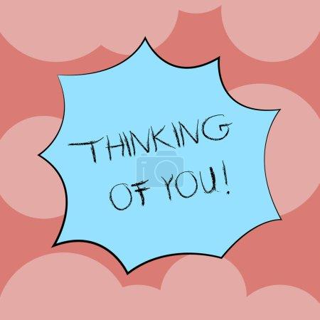Photo pour Écriture remarque montrant Thinking Of You. Photo d'entreprise mettant en vedette pour avoir quelqu'un sur l'esprit, se rappelant une démonstration avec love Explosion explosion Scream bulle pour les annonces de Promotion - image libre de droit