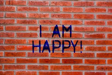 Photo pour Signe texte montrant que je suis heureux. Photo conceptuelle Avoir une vie remplie d'amour bon travail bonheur brique Art mural comme Graffiti appel de motivation écrit sur le mur - image libre de droit