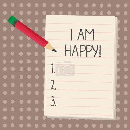 Photo pour Signe texte montrant que je suis heureux. Photo conceptuelle Avoir une vie remplie d'amour bonheur au travail - image libre de droit