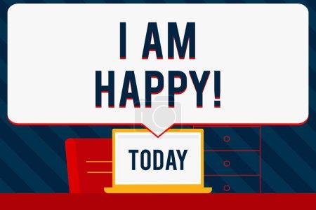 Photo pour Écriture manuscrite de texte Je suis heureux. Sens du concept Avoir une vie remplie d'amour un bon travail le bonheur - image libre de droit
