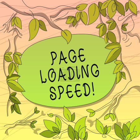 Photo for Conceptual hand writing showing Page Loading Speed. Business photo showcasing time it takes to download and display content of web Tree Branches Scattered with Leaves Blank Color Text Space - Royalty Free Image