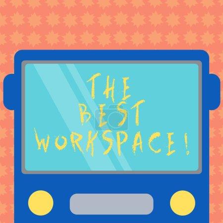 Photo pour Remarque montrant le meilleur espace de travail de l'écriture. Photo d'entreprise présentant l'espace travailler avec internet et bon outils dessiné Flat Front vue de Bus avec blanc couleur fenêtre bouclier réfléchissant - image libre de droit