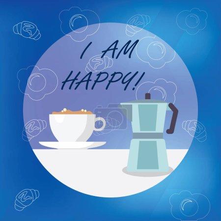 Photo pour Ecriture conceptuelle montrant que je suis heureux. Photo d'affaires mettant en valeur Avoir une vie remplie d'amour bonheur au travail - image libre de droit