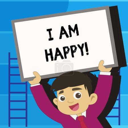 Photo pour Note d'écriture montrant que je suis heureux. Photo d'affaires mettant en valeur Avoir une vie remplie d'amour bonheur au travail - image libre de droit
